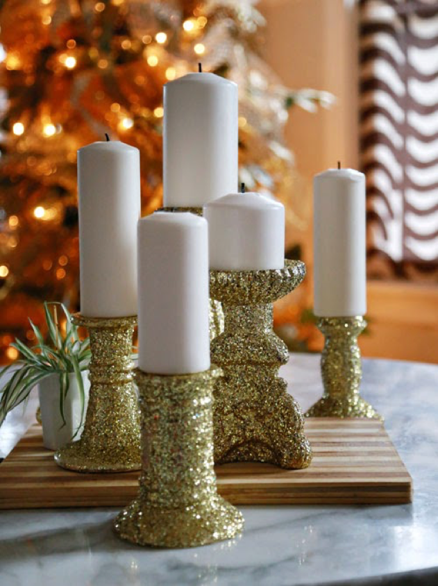 Glitter can be added to make beautiful candleholders