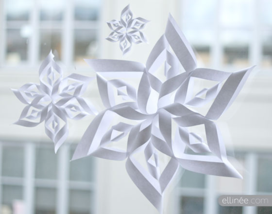 Paper Snowflakes Hanging As Mobile